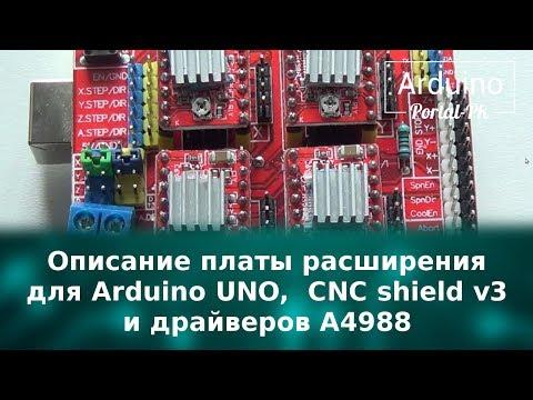 Описание платы расширения для Arduino UNO,  CNC Shield V3 и драйверов A4988.  ЧПУ