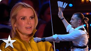 KNIVES thrown at SIMON COWELL in DANGEROUS ACT! | Britain's Got Talent