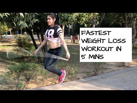 FASTEST WEIGHT LOSS WORKOUT IN 5 MINS | JUMP ROPE CHALLENGE Burn 200 calories #BODLYLOVE E04