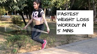 FASTEST WEIGHT LOSS WORKOUT IN 5 MINS   JUMP ROPE CHALLENGE Burn 200 calories #BODLYLOVE E04