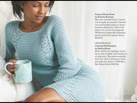 Платье крючком (голубое). Часть 1.
