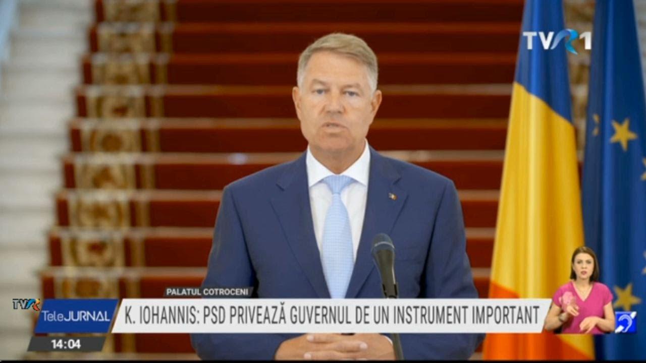Declaraţii Klaus Iohannis: Nu este momentul pentru jocuri politice