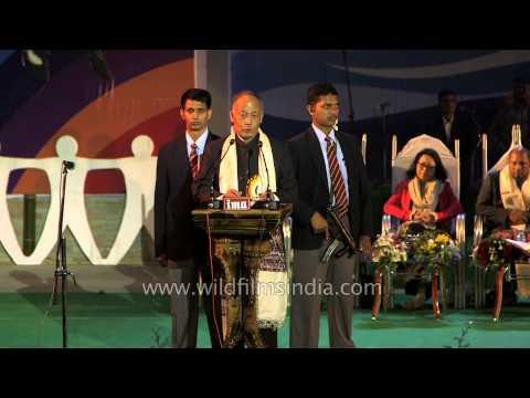 CM Okram Ibobi Singh addresses the crowd at Sangai Fest