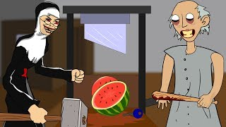 GRANNY THE HORROR GAME ANIMATION #24 : EVIL NUN Vs Scary Granny DAY 4