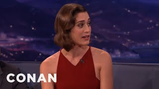lizzy caplan michael sheen always gets me sausage gifts   conan on tbs