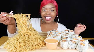 SUSHI AND INDOMIE GORENG NOODLES MUKBANG!!!