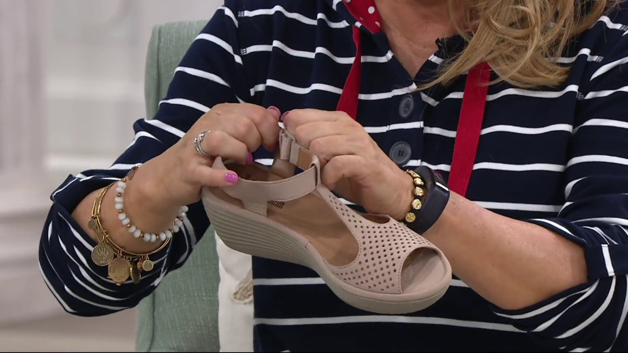 51cbf0825f4 Clarks Leather T-Strap Wedge Sandals - Reedly Waylin on QVC - YouTube