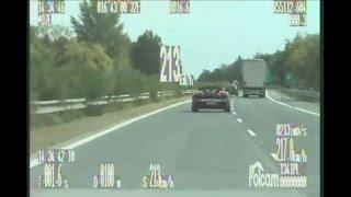 Czech Police Skoda Superb 3,6 V6 FSI vs. Lamborghini Gallardo Spyder on D1 highway