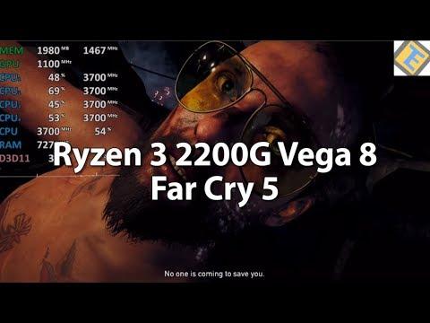 Far Cry 5 Ryzen 3 2200G Vega 8 Gameplay Benchmark Stock. Custom & low settings