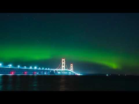 Northern Lights shining above Michigan's Mackinac Bridge