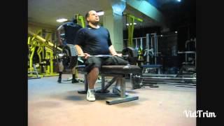 Подъём штанги 80кг на бицепс сидя. Seated 80kg barbell biceps curl