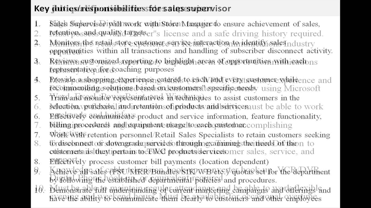 Sales Supervisor Job Description Youtube