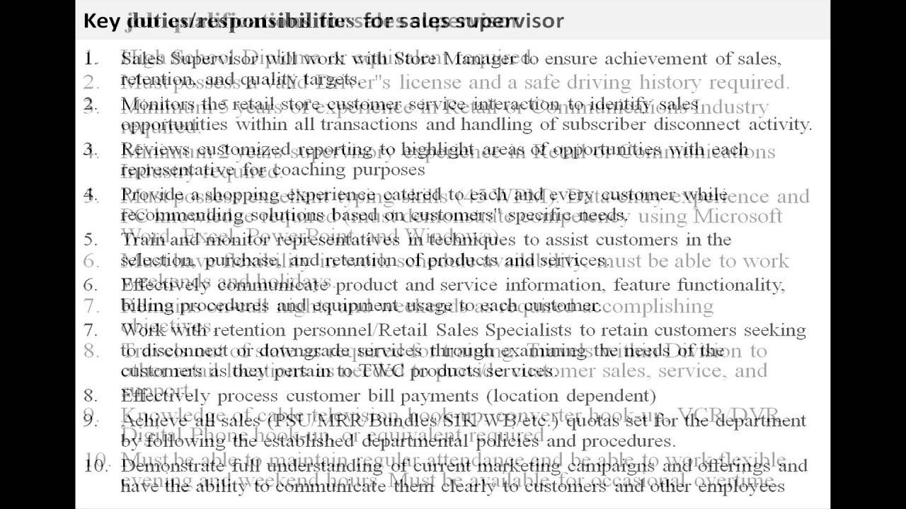 job description resume retail   cover letter examplejob description resume retail retail sales associate job description for resume sales supervisor job description youtube