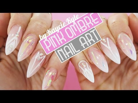 Pink white ombre acrylic with shattered glass nail art by kaycie pink white ombre acrylic with shattered glass nail art by kaycie kyle youtube prinsesfo Choice Image