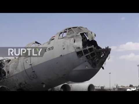 Yemen: War-shattered Sanaa International Airport lies in ruins