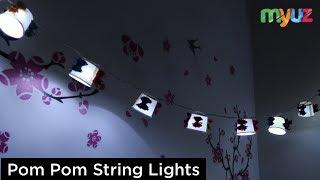 بوم بوم DIY - إنشاء سلسلة أضواء باستخدام بوم بوم لتزيين المنزل ديوالي