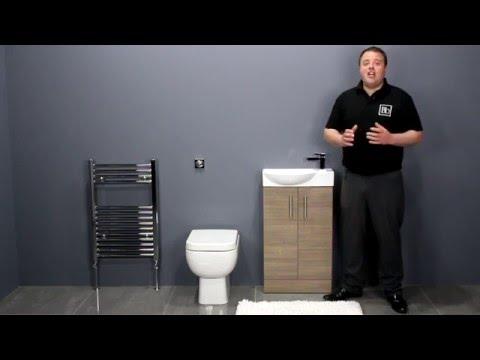 Back To Wall Toilet & Oak Double Door Vanity Unit Bathroom Furniture