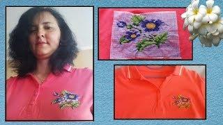 Вышивка на футболке, водорастворимый флизелин // вышивка крестиком