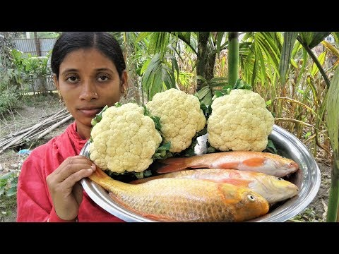 Village Food Recipe | Golden Carp Fish and Cauliflower Recipes Cooking By Street Village Food