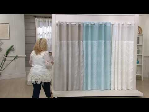 hookless-luxe-chevron-fringe-shower-curtain-with-window-&-fabric-liner-on-qvc