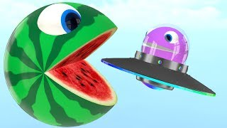Watermelon Pacman fun play on farm as he meet a ufo in surprise toys then roll a magic slide