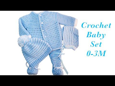 baby-boy-set:-how-to-crochet-newborn-bean-stitch-sweater-jacket- -cardigan-0-6m-crochet-for-baby#171