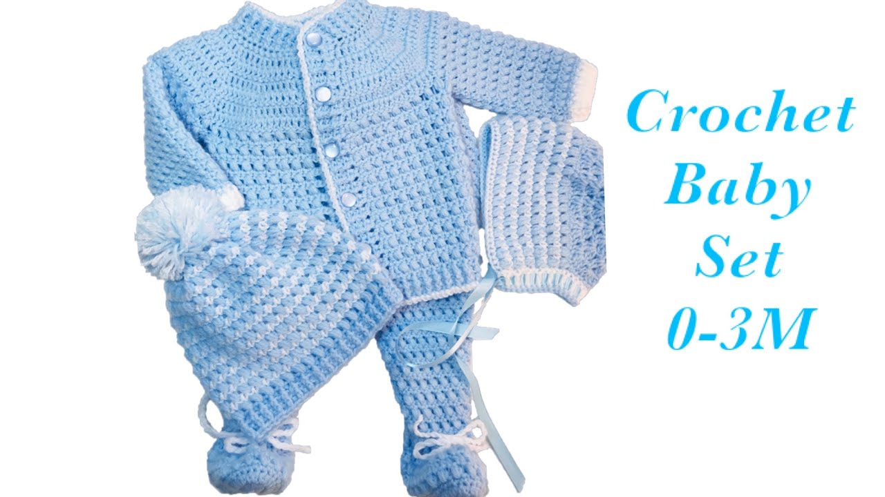 Baby Boy Set How To Crochet Newborn Bean Stitch Sweater Jacket