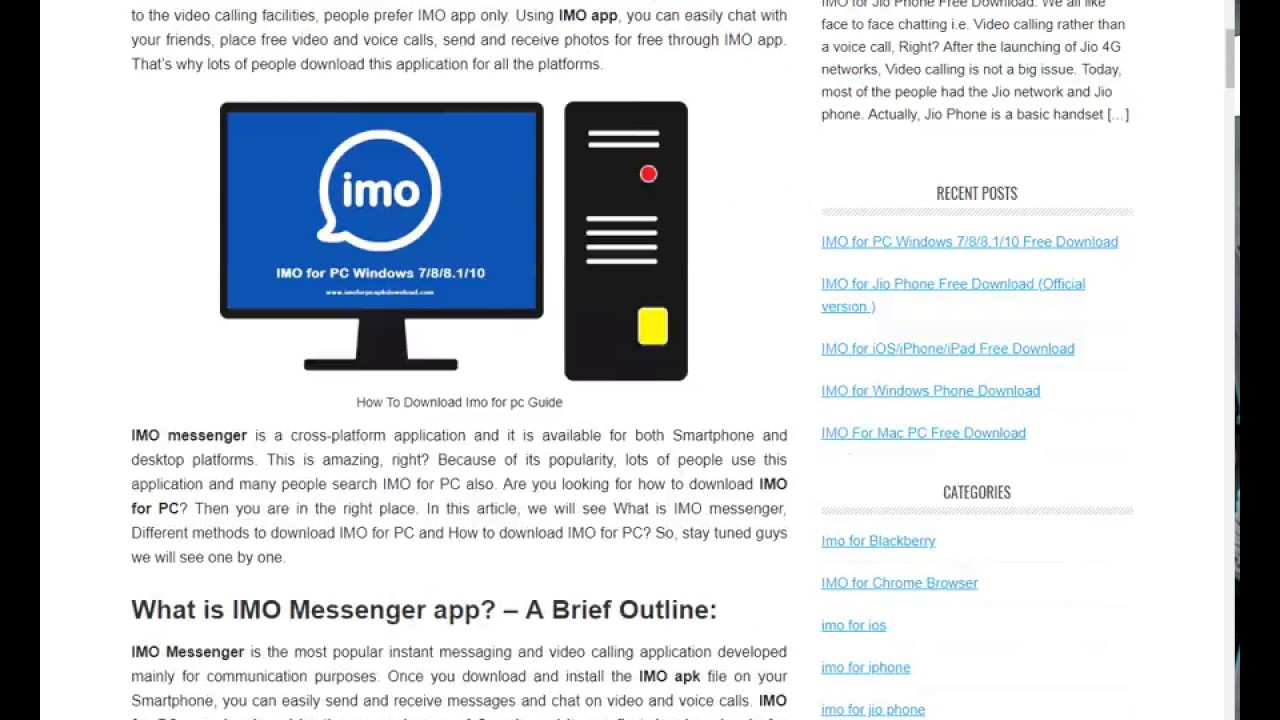 IMO for PC Windows 7/8/8 1/10 Free Download