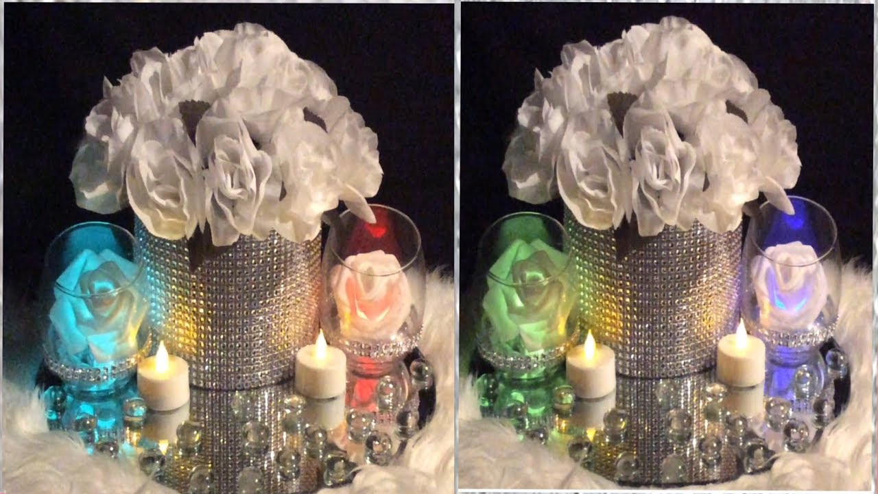 Dollar Tree White Bling Wedding Centerpiece/ DIY Lighted Tealight ...