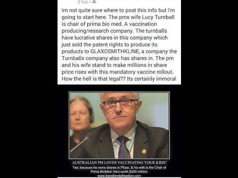 Globalist Malcolm Turnbull Pushes Mandatory Vaccination Agenda-Shares In Big Pharma-