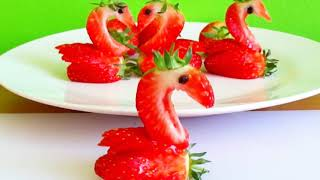 Super Easy Strawberry Carving - Strawberry Swans