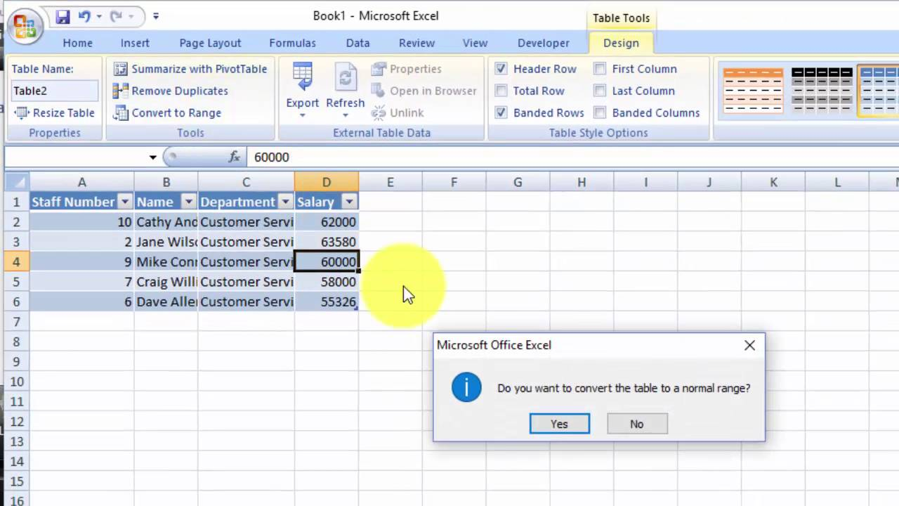 How To Remove Default Table Format In Excel After Double