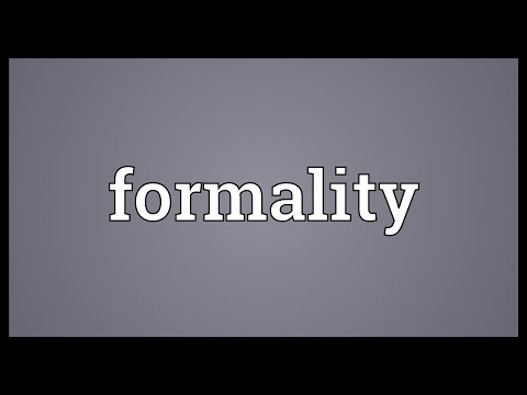 Formality Meaning