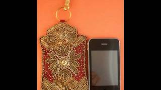 Red Silk Jeweled Cell Phone Case