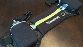 Reflective hydration running belt with two 6oz water bottles by Quantum Life Fitness