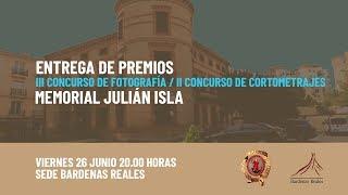 Entrega premios III concurso Fotografía - II concurso de cortometrajes, memorial Julián Isla