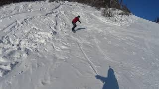 Нерюнгри горнолыжная база Прохват по лесу сноуборд