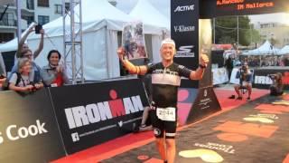 Angel Mancebo entrant a meta Ironman Mallorca 2016