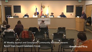 Roaring Fork Weekly Journal and GrassRoots TV present: Basalt Town Council Candidate Forum
