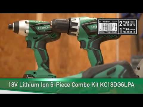 Hitachi KC18DG6LPA 18V Cordless Combo Kit 6 Piece