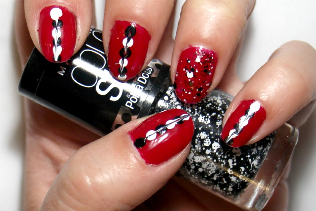 Red White and Black Nail Art Tutorial - YouTube