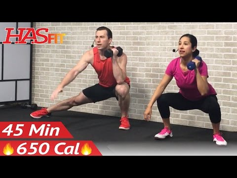 45 Min HIIT Tabata Workout with Weights - Full Body Dumbbell High Intensity Workout at Home Training