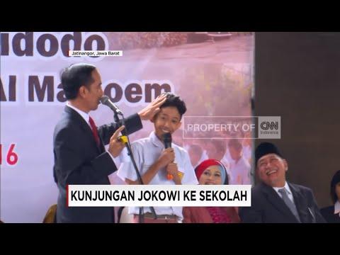 Lucu, Jokowi Asyik Bercanda Dengan Siswa