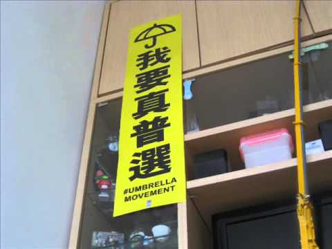 """""""I want true universal suffrage"""" banner up 我要真普選"""