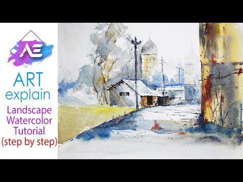 Transparent Watercolor Painting Landscape Tutorial | How to paint a watercolor | Art Explain