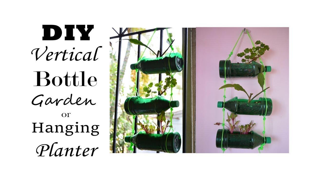 DIY Hanging Planter Or Vertical Bottle Garden. Best Out Of Waste Planter.