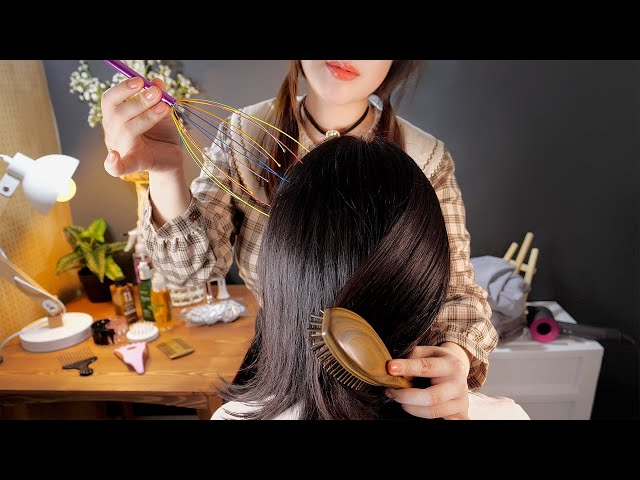 ASMR Realistic Hair Brushing & Scalp Massage on Real Head💆👩