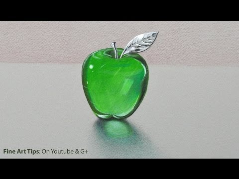 How to Draw Glass: a Crystal or Acrylic Green Apple -  Fine Art-Tips.
