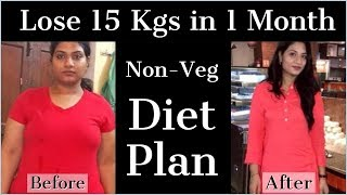 Non Veg Weight Loss Diet Plan to Lose 10 Kgs in 1 Month | Non Vegetarian Meal Plan/Diet Chart