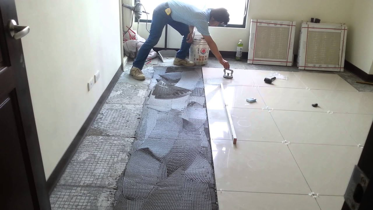 Floor tile installation polished porcelain 60x60cm youtube for Ceramic floor installation